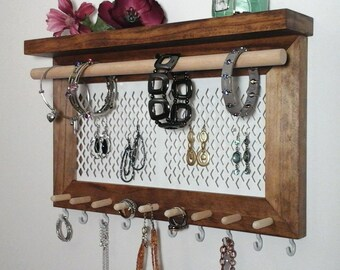 Jewelry Organizer Wall Mount Necklace Bracelet Ring Earring