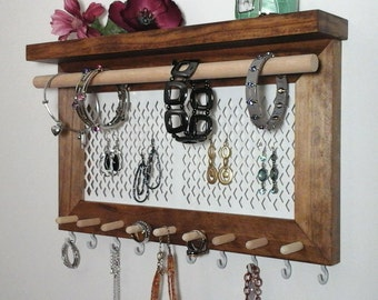 Jewelry Organizer Wall Jewelry Holder, Earring Holder, Necklace Organizer, Ring Holder, Bracelet Holder, Wood Jewelry Hanger Rack with Shelf