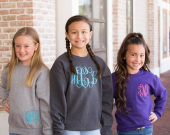 Monogrammed Youth Sweatshirt, Initial Sweatshirt, Embroidered Sweatshirt, Kids Sweatshirts, S M L XL