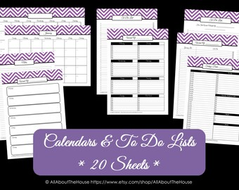 LIGHT BLUE To Do List and Calendar Perpetual Household Binder Chevron Printable Shopping List Grocery Day Planner 2015 and beyond Instant Dl