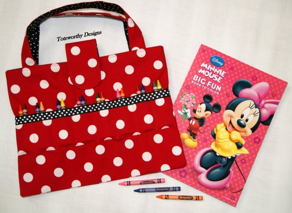 Children\'s Coloring Book and Crayon Bag - Red - Crayon Holder ...