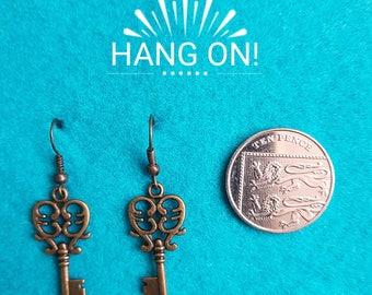 Handmade Steampunk Key Earrings