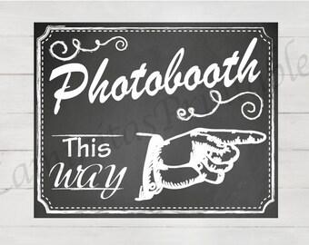 photobooth sign, photo booth sign, photobooth backdrop, photobooth insert, Photobooth this way, wedding photobooth, chalkboard wedding sign