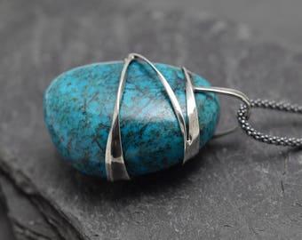 Chrysocolla pendant,Ooak Pendant,Chrysocolla necklace,Boho style,siver pendnat,metalwork jewelry,jewelry,handmade Pendant,silver,chrysocolla