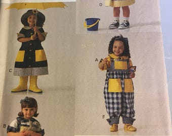9049 Vogue For Me Girl's Dress Top Jumper and Overall Pattern Sizes 2-4 Uncut