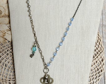 Silver & Blue Charm Key Necklace with Vintage Elements
