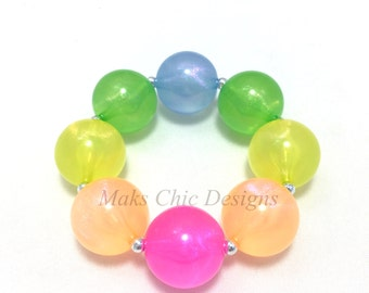 Toddler or Girls Rainbow Jelly Bead Glitter Chunky Bracelet - Neon Pink, Orange, Yellow, Green and Blue Bracelet - Girls Rainbow Bracelet