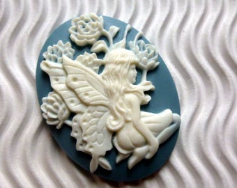 2 * cameo cabochon 30 * 40mm flower gray white Angel ca 6 woman