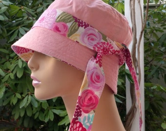 Chemo Hat Cancer Headwear Bucket Hat  for Hair Loss.Made in the USA. Pink  MEDIUM