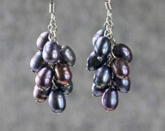 Black pearl dangling chandelier earrings bridesmaids gifts Free US Shipping handmade anni designs