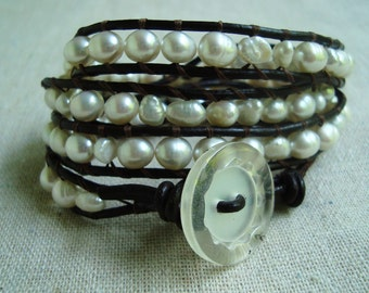 It's A Wrap - Dark Brown Leather & White Freshwater Pearls Wrap Bracelet with Vintage Button Closure