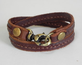 Leather Wrap Bracelet Leather Bracelet with Metal Alloy Brass Tone Clasp Hand Stitched in brown