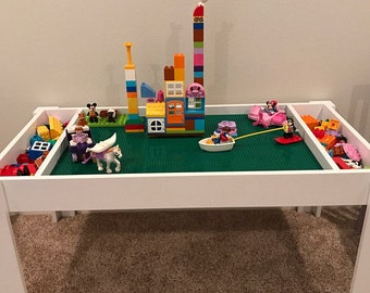 Activity table, Building blocks table, kids table, building bricks table, compatible with Lego table and duplo bricks Table with storage