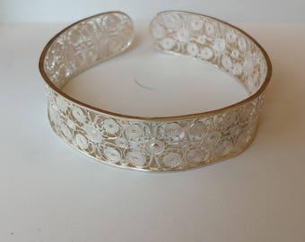Filigree Sterling Silver Bracelet, Sterling Bracelet, Filigree Cuff Bracelet