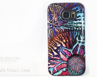 Colorful Abstract Coral Galaxy S6 Case - TOUGH dual layer S 6 Case with Ocean Art - Cosmic Star Coral