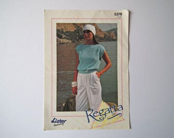 Original Lister 5378 Vintage Knitting Pattern, Regatta DK Top, Handknit Pattern, Size 28-40 inch, 71-102 cm, Lady's Cap Sleeved Top