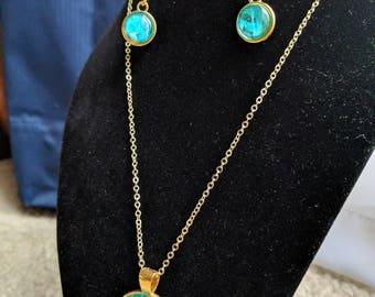Emerald Isle Jewelry Set - green and gold