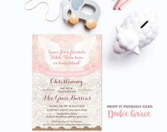 PDF Christening Invite, Christening invitation for Girl, Pink Christening Cards, DIY Christening Party, Angel Christening Invite, printable