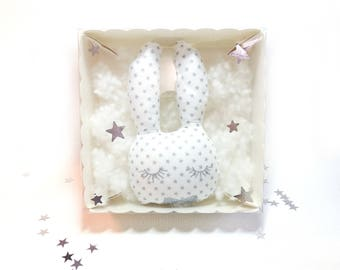 """Rattle """"Pacco handsome rabbit"""", star white dots cotton"""