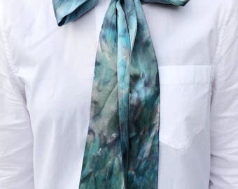 Handmade Shibori Handdyed Reversible Silk Skinny Scarf  ONE-OF-A-KIND Limit Edition