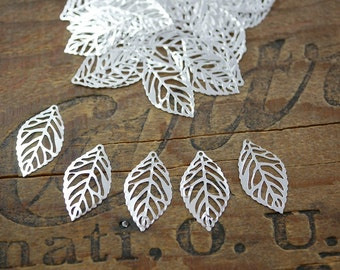 Lightweight Silver Laser Cut Metal Leaf Components (20)