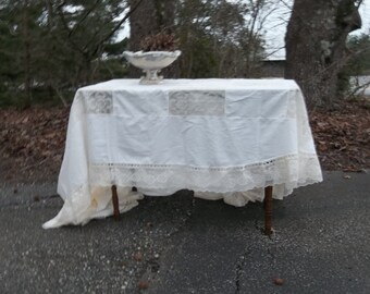 Vintage ARMY NAVY Tablecloth 67x98 IVORY Lace Tablecloth Vintage Wedding Decorations Table Decor French Country Cottage Lace Topper Oval