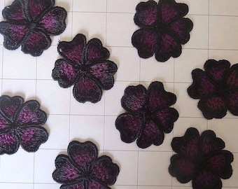 Set of 8 Embroidered Black and Purple Flower Appliques 1 3/4""