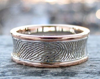 Fine Finger Print Wedding Band in Two Tone 14K White & Rose Gold with Custom Quote and Glossy Finish Size 7