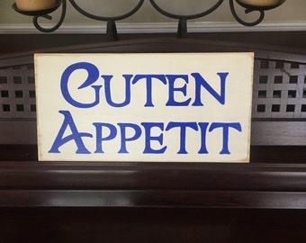 GUTEN APPETIT German Old World Bavarian Kitchen Dining Room Sign Germany Plaque Food Oktoberfest Wooden Deutschland Pick Color Hand Painted