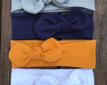 Set of 4 Top Knot Headbands! 4 Headbands for a great price/Baby turban headbands//Top Knot headbands//Kids/adults, top knot headbands.