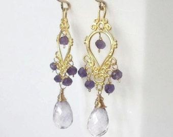Amethyst Earrings Gold Amethyst Chandelier Earrings Purple Chandelier Earrings