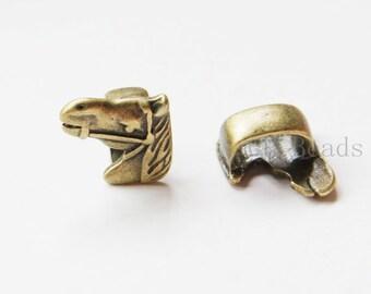6pcs Antique Brass Tone Base Metal Large Hole Spacers - Horse 17x16mm (24272Y-C-400)