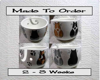A Group of 5 Cats On A Yarn Bowl Handmade Original Earthenware Clay by Grace M Smith