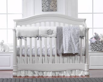 Simply White and Gray 4 pc. Crib Set | Bumperless Crib Bedding | Gray and White Baby Bedding