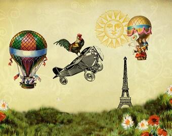 Hot Air Balloon, Boys Wall Art, Whimsical Art, Rooster Art, Airplane Decor, Boys Bedroom Art, Girls Room Decor, Whimsical Decor, Plane Art