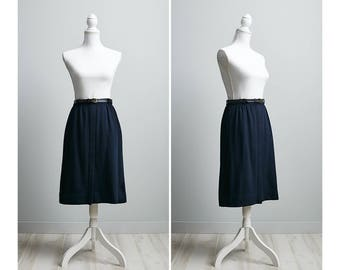 High Waisted Wool Skirt, Wool Secretary Skirt, A Line Skirt Midi, Navy Blue 80s Skirt