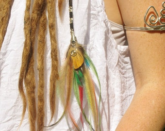 Unique summer fashion, bright colors cruelty free, real feather hair extension wrapped silver wire, festival wear, burning man, gypsy soul