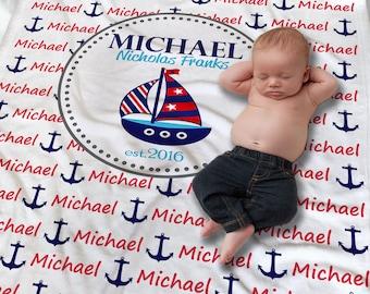 Nautical Baby Blanket - Nautical Baby Bedding - Personalized Baby Blanket - Newborn Boy Gift - Receiving Blanket - Baby Name Wrap Blanket