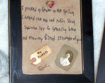 primitive friend stitchery tea dyed rustic shabby chic black frame hand stitched wall picture osnaburg