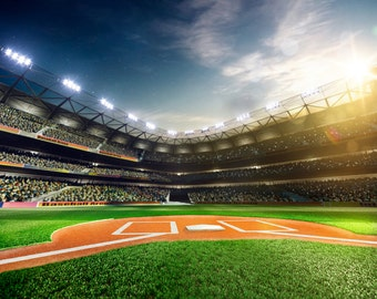 Baseball Ground Backdrop - sports studio, football - Printed Fabric Photography Background G0816
