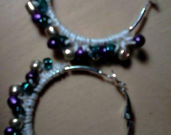 Crochet Beaded Hoop Earrings