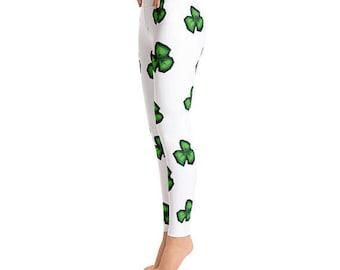 Shamrock Leggings, St Patricks day, St Pattys Day, Green leggings, Irish leggings