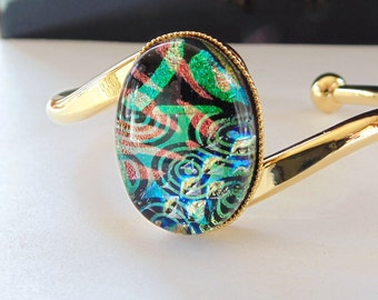 Gold Plated Dichroic Glass Cuff Bracelet, Adjustable, Fused Glass Jewelry, One of a Kind