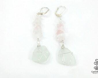 Pink Earrings, Sea Glass Earrings, Pink Quarts Earrings, Drop Earrings, Dangle Earrings, Silver Earrings, Wedding Jewelry, Beach Jewelry