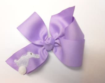 Girls Easter Hair bow in Lavender Pastel Bunny Gift 4 inch hairbow infant baby clasic Spring Purple medium portrait ribbon affordable sale
