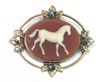 Horse Cameo Brooch - Horse Jewelry with Crystal Accents