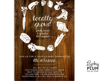 Farmer's Market Baby Shower Invitation / Locally Grown Invitation / Fruit Vegetable Farm Coed Organic / Couples Baby Shower Invitation
