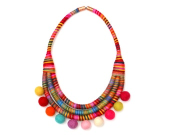 Pom Pom Necklace, Colorful Statement Necklace, Fabric Bib Necklace, Unique Gift For Her, Necklace For Women, Big And Bold Textile Necklace