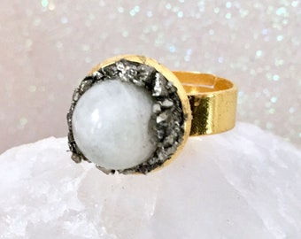 Moonstone & Pyrite Adjustble ring on a gold plated band. Charged with Reiki Energy