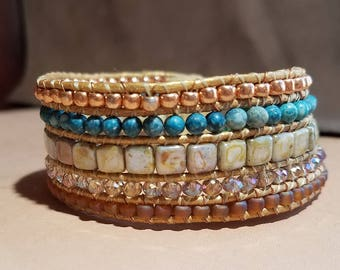 Woven Copper Glass and Stone Beaded Bracelet